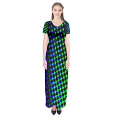 Digitally Created Halftone Dots Abstract Background Design Short Sleeve Maxi Dress