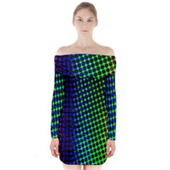 Digitally Created Halftone Dots Abstract Background Design Long Sleeve Off Shoulder Dress