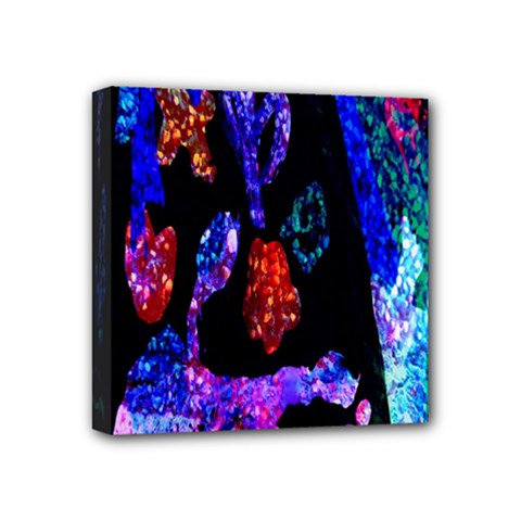Grunge Abstract In Black Grunge Effect Layered Images Of Texture And Pattern In Pink Black Blue Red Mini Canvas 4  x 4