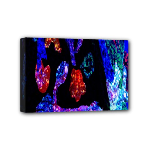 Grunge Abstract In Black Grunge Effect Layered Images Of Texture And Pattern In Pink Black Blue Red Mini Canvas 6  x 4