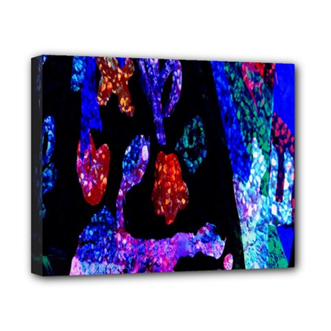 Grunge Abstract In Black Grunge Effect Layered Images Of Texture And Pattern In Pink Black Blue Red Canvas 10  X 8