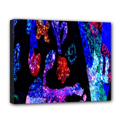 Grunge Abstract In Black Grunge Effect Layered Images Of Texture And Pattern In Pink Black Blue Red Deluxe Canvas 20  X 16