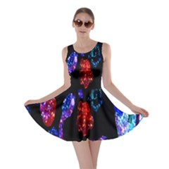 Grunge Abstract In Black Grunge Effect Layered Images Of Texture And Pattern In Pink Black Blue Red Skater Dress