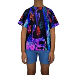 Grunge Abstract In Black Grunge Effect Layered Images Of Texture And Pattern In Pink Black Blue Red Kids  Short Sleeve Swimwear