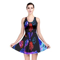 Grunge Abstract In Black Grunge Effect Layered Images Of Texture And Pattern In Pink Black Blue Red Reversible Skater Dress