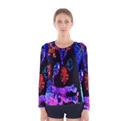 Grunge Abstract In Black Grunge Effect Layered Images Of Texture And Pattern In Pink Black Blue Red Women s Long Sleeve Tee