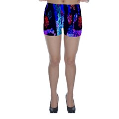 Grunge Abstract In Black Grunge Effect Layered Images Of Texture And Pattern In Pink Black Blue Red Skinny Shorts