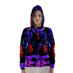 Grunge Abstract In Black Grunge Effect Layered Images Of Texture And Pattern In Pink Black Blue Red Hooded Wind Breaker (women)