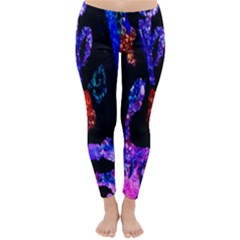 Grunge Abstract In Black Grunge Effect Layered Images Of Texture And Pattern In Pink Black Blue Red Classic Winter Leggings