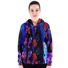 Grunge Abstract In Black Grunge Effect Layered Images Of Texture And Pattern In Pink Black Blue Red Women s Zipper Hoodie