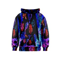 Grunge Abstract In Black Grunge Effect Layered Images Of Texture And Pattern In Pink Black Blue Red Kids  Zipper Hoodie