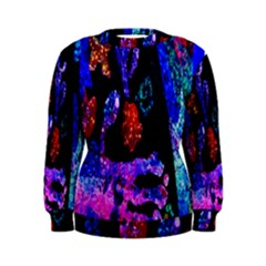 Grunge Abstract In Black Grunge Effect Layered Images Of Texture And Pattern In Pink Black Blue Red Women s Sweatshirt