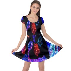 Grunge Abstract In Black Grunge Effect Layered Images Of Texture And Pattern In Pink Black Blue Red Cap Sleeve Dresses