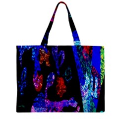 Grunge Abstract In Black Grunge Effect Layered Images Of Texture And Pattern In Pink Black Blue Red Zipper Mini Tote Bag
