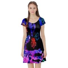 Grunge Abstract In Black Grunge Effect Layered Images Of Texture And Pattern In Pink Black Blue Red Short Sleeve Skater Dress