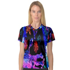 Grunge Abstract In Black Grunge Effect Layered Images Of Texture And Pattern In Pink Black Blue Red Women s V Neck Sport Mesh Tee