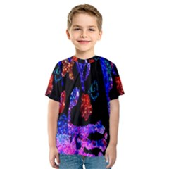 Grunge Abstract In Black Grunge Effect Layered Images Of Texture And Pattern In Pink Black Blue Red Kids  Sport Mesh Tee