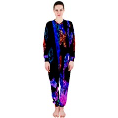 Grunge Abstract In Black Grunge Effect Layered Images Of Texture And Pattern In Pink Black Blue Red OnePiece Jumpsuit (Ladies)