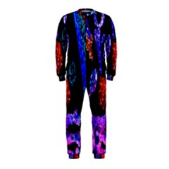 Grunge Abstract In Black Grunge Effect Layered Images Of Texture And Pattern In Pink Black Blue Red OnePiece Jumpsuit (Kids)