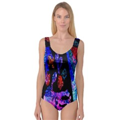 Grunge Abstract In Black Grunge Effect Layered Images Of Texture And Pattern In Pink Black Blue Red Princess Tank Leotard