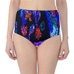 Grunge Abstract In Black Grunge Effect Layered Images Of Texture And Pattern In Pink Black Blue Red High Waist Bikini Bottoms