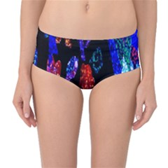 Grunge Abstract In Black Grunge Effect Layered Images Of Texture And Pattern In Pink Black Blue Red Mid Waist Bikini Bottoms