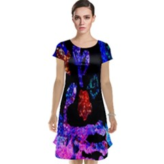 Grunge Abstract In Black Grunge Effect Layered Images Of Texture And Pattern In Pink Black Blue Red Cap Sleeve Nightdress