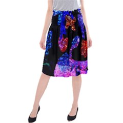 Grunge Abstract In Black Grunge Effect Layered Images Of Texture And Pattern In Pink Black Blue Red Midi Beach Skirt