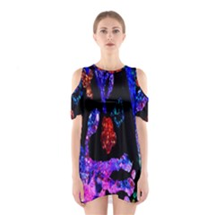 Grunge Abstract In Black Grunge Effect Layered Images Of Texture And Pattern In Pink Black Blue Red Shoulder Cutout One Piece