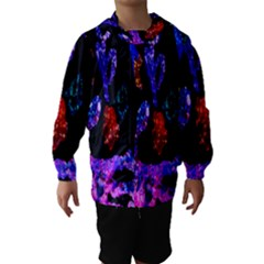Grunge Abstract In Black Grunge Effect Layered Images Of Texture And Pattern In Pink Black Blue Red Hooded Wind Breaker (kids)