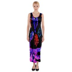 Grunge Abstract In Black Grunge Effect Layered Images Of Texture And Pattern In Pink Black Blue Red Fitted Maxi Dress