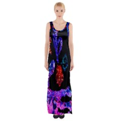 Grunge Abstract In Black Grunge Effect Layered Images Of Texture And Pattern In Pink Black Blue Red Maxi Thigh Split Dress