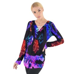 Grunge Abstract In Black Grunge Effect Layered Images Of Texture And Pattern In Pink Black Blue Red Women s Tie Up Tee