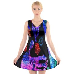 Grunge Abstract In Black Grunge Effect Layered Images Of Texture And Pattern In Pink Black Blue Red V Neck Sleeveless Skater Dress
