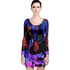 Grunge Abstract In Black Grunge Effect Layered Images Of Texture And Pattern In Pink Black Blue Red Long Sleeve Velvet Bodycon Dress