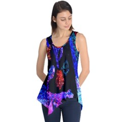Grunge Abstract In Black Grunge Effect Layered Images Of Texture And Pattern In Pink Black Blue Red Sleeveless Tunic
