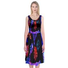 Grunge Abstract In Black Grunge Effect Layered Images Of Texture And Pattern In Pink Black Blue Red Midi Sleeveless Dress
