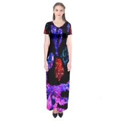 Grunge Abstract In Black Grunge Effect Layered Images Of Texture And Pattern In Pink Black Blue Red Short Sleeve Maxi Dress