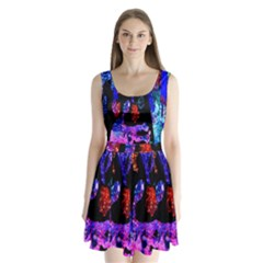 Grunge Abstract In Black Grunge Effect Layered Images Of Texture And Pattern In Pink Black Blue Red Split Back Mini Dress