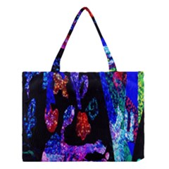 Grunge Abstract In Black Grunge Effect Layered Images Of Texture And Pattern In Pink Black Blue Red Medium Tote Bag
