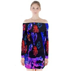 Grunge Abstract In Black Grunge Effect Layered Images Of Texture And Pattern In Pink Black Blue Red Long Sleeve Off Shoulder Dress