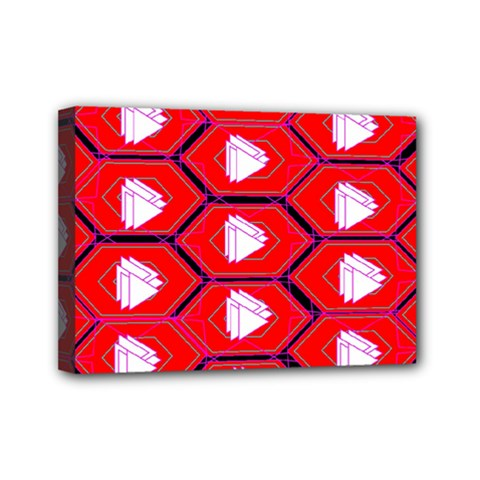 Red Bee Hive Background Mini Canvas 7  X 5