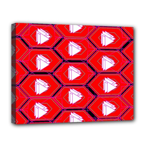 Red Bee Hive Background Canvas 14  x 11