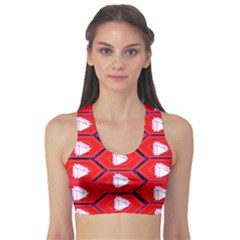 Red Bee Hive Background Sports Bra