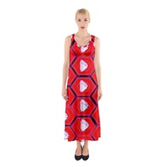 Red Bee Hive Background Sleeveless Maxi Dress