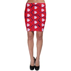 Red Bee Hive Background Bodycon Skirt