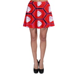 Red Bee Hive Background Skater Skirt