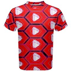 Red Bee Hive Background Men s Cotton Tee