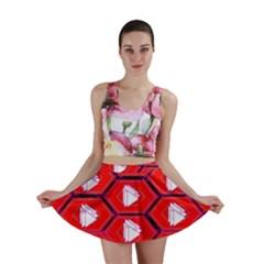 Red Bee Hive Background Mini Skirt