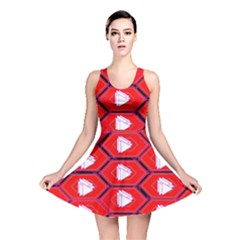 Red Bee Hive Background Reversible Skater Dress